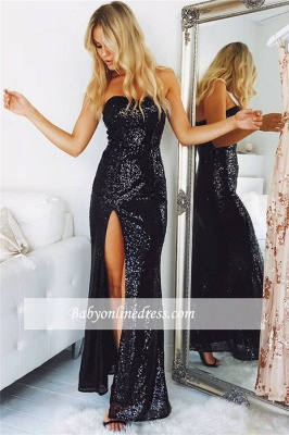 Split Strapless Black Sequins Sexy Evening Dresses_1