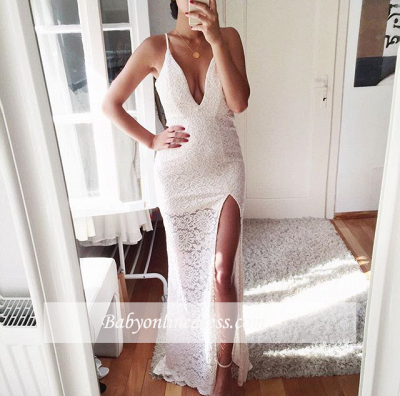 Sexy Lace Mermaid Prom Dress 2018 Front Split Spaghetti Strap Evening Gowns_1