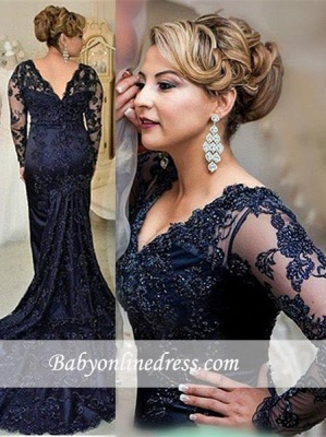 2018 Gorgeous Navy Long Sleeve Appliques Sweep Train Lace Evening Dress with Zipper BA4088_4