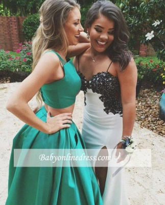 Two-Piece Straps Prom Dress Sleeveless A-line Evening Gowns_4
