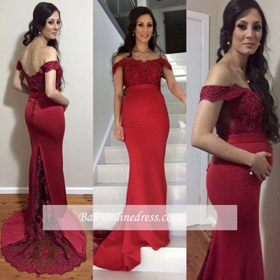 Red Mermaid Maternity Dresses | Elegant Off-the-Shoulder Baby Shower Gown_1