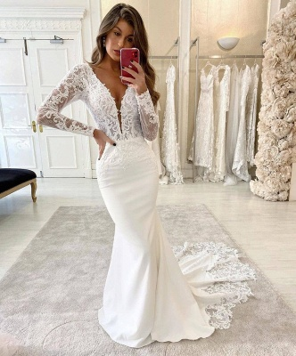 Simply Style Deep V Neck Long Sleeve Lace Fitted Mermaid Wedding Dresses_2