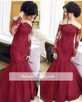 Amazing Lace Burgundy Mermaid Tulle Off-The-Shoulder Long-Sleeve Prom Dresses BA5001_1