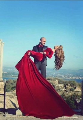 Long Sleeves Burgundy Mermaid Prom Dresses | Off-Shoulder Formal Sexy Evening Gowns_1