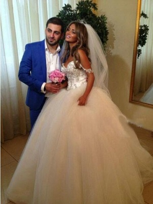 Spaghettis Straps Crystals Beaded Princess Long Ball Gown Wedding Dresses_3