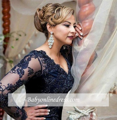 2018 Gorgeous Navy Long Sleeve Appliques Sweep Train Lace Evening Dress with Zipper BA4088_3