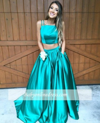 Two-Piece Straps Prom Dress Sleeveless A-line Evening Gowns_5