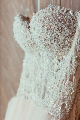 Elegant Lace Sweetheart Princess Tulle Beadings Wedding Dresses_4