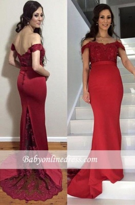 Red Mermaid Maternity Dresses | Elegant Off-the-Shoulder Baby Shower Gown_3