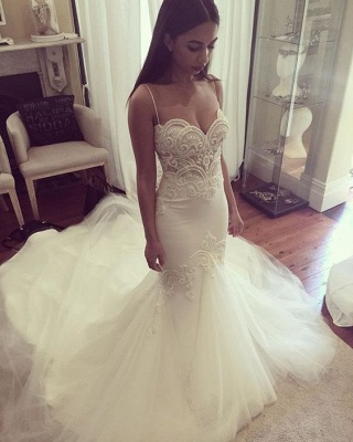 Mermaid Wedding Dresses Spaghettis Straps Delicate Lace Appliques Bridal Gowns_5