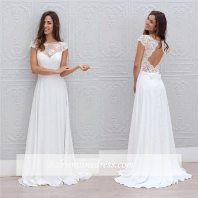Simple Backless Short-Sleeves Chic A-line Sweep-train White Wedding Dress_1