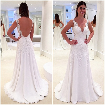 Elegant A-Line Wedding Dresses | V-Neck Sleeveless Lace Appliques Open Back Bridal Gowns_3
