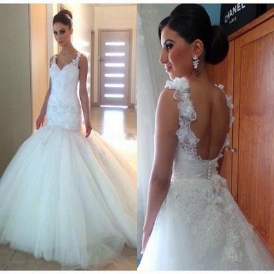 Elegant Appliques Tulle Open Back V-Neck Trumpet Wedding Dresses_3