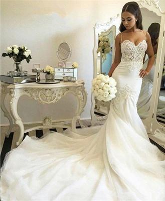 Mermaid Wedding Dresses Spaghettis Straps Delicate Lace Appliques Bridal Gowns_4