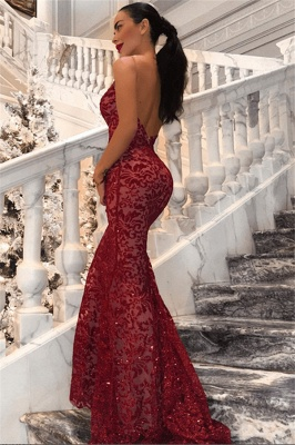 Sexy Red Straps Lace Mermaid Floor Length Prom Dresses| V Neck Long Evening Gown_1