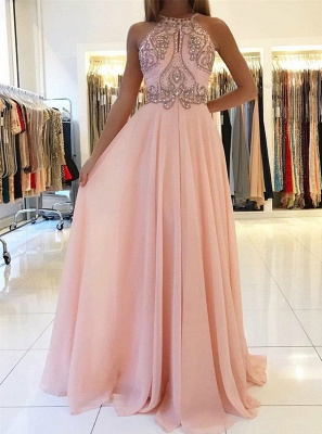 New Crystals Pink Prom Dresses | Halter Neck A-line Formal Dresses_1