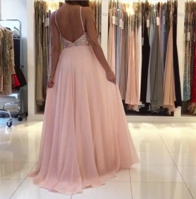 New Crystals Pink Prom Dresses | Halter Neck A-line Formal Dresses_3