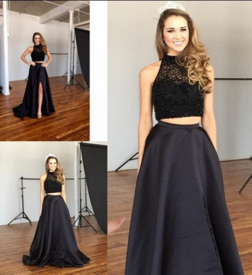 Chic Two-Piece Prom Dresses | Black Beaded A-line Formal Dresses_3