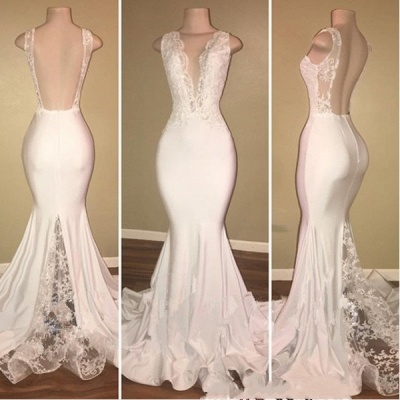 Elegant Long Mermaid Prom Dresses | V-Neck Backless Lace Evening Gowns_3