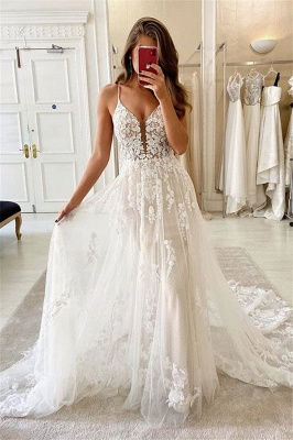 Simply Spaghetti Strap Lace Floor Length  A Line Wedding Dresses_1
