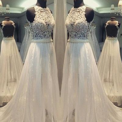 Scoop Hollow Sleevess Simple Sweep Train A-line Wedding Dress_3