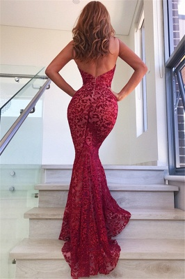 Sexy Red Straps Lace Mermaid Floor Length Prom Dresses| V Neck Long Evening Gown_4