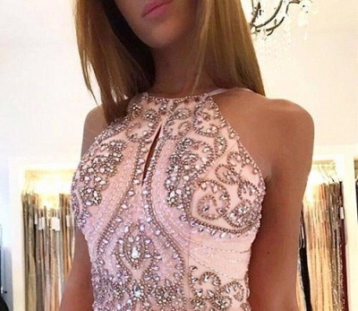 New Crystals Pink Prom Dresses | Halter Neck A-line Formal Dresses_4