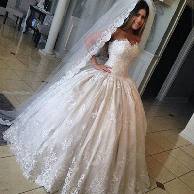 Gorgeous Lace Sweetheart Wedding Dresses Princess Ball-Gown Bridal Gowns_3