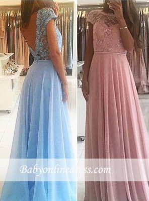 Chic A-line Chiffon Lace Prom Dresses Short Sleeves Floor-length Evening Gowns_1
