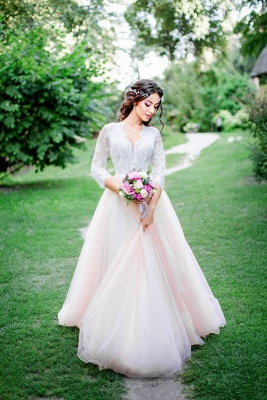 3/4-Length-Sleeve Pink Long Tulle Lace Royal Wedding Dresses_4