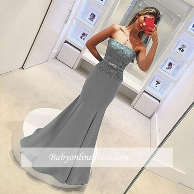 2018 Delicate Strapless Mermaid Prom Dress Sleeveless Lace Evening Gown with Bow_1