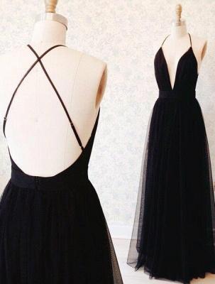 Sexy Black Prom Dresses Plunging V Neck Side Slit Evening Gowns_3
