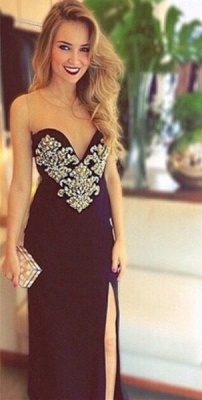 Black Long Prom Dresses Crystals Beaded Open Back Side Slit Sexy Evening Gowns_2