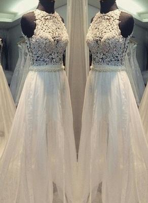 Scoop Hollow Sleevess Simple Sweep Train A-line Wedding Dress_2