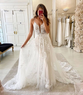 Simply Spaghetti Strap Lace Floor Length  A Line Wedding Dresses_2
