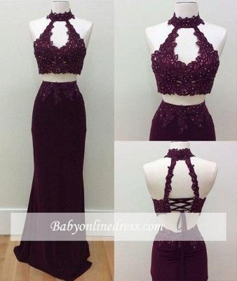 Lace-Up Beading Keyhole-Neck Two-Piece Lace Sheath Prom Dresses_1