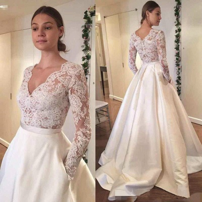Elegant A-line Wedding Dresses | Long Sleeves Puffy Bridal Gowns with Pockets_3