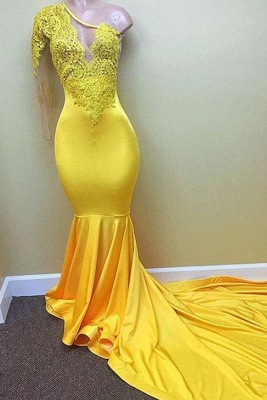 Shiny Yellow Mermaid Prom Dresses | One Sleeve Lace Evening Gowns_1