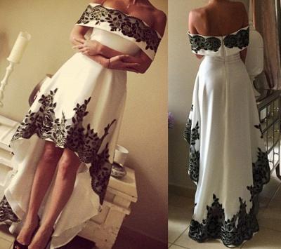 Hi-Lo Prom Dresses Vintage Black Lace Appliques White Party Dresses_4