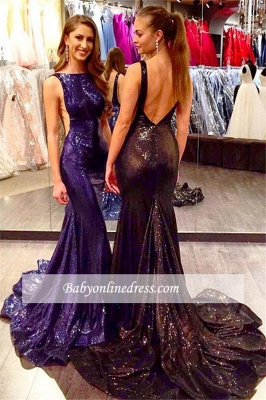 2018 Sexy Open Back Sleeveless Sequined Mermaid Court-Train Prom Dress_3
