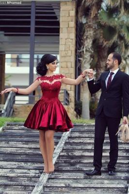 High Neck Long Sleeves Sheer Lace Satin Knee Length Homecoming Dresses_3