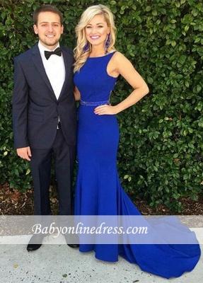 Glamorous Royal-Blue Sweep-Train Sleeveless Mermaid Evening Dress with Beadings_6