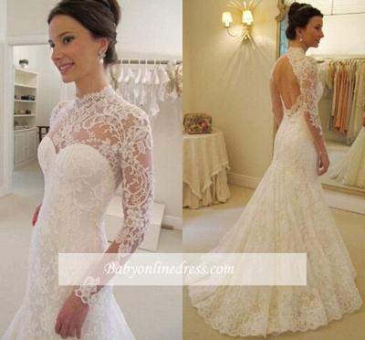Backless Long Sleeves Elegant Lace Sweep Train Mermaid Wedding Dress_1
