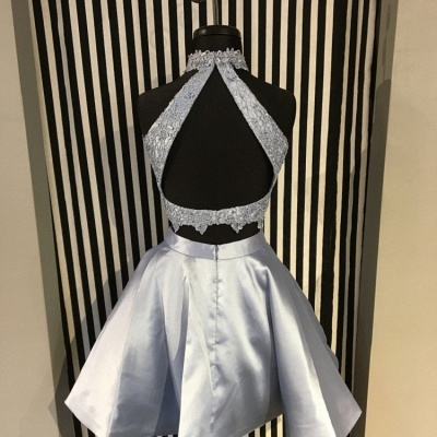 Cute Two-Piece Homecoming Dresses | Blue Halter Neck Hoco Dresses_3
