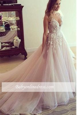 Pink Tulle A-Line Wedding Dresses Deep V-Neck Applique Chapel Train Long Bridal Dresses_1