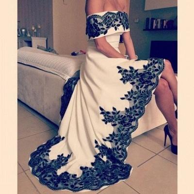 Hi-Lo Prom Dresses Vintage Black Lace Appliques White Party Dresses_5