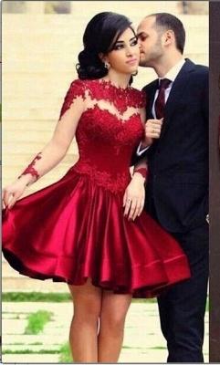 High Neck Long Sleeves Sheer Lace Satin Knee Length Homecoming Dresses_1