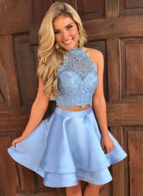 Cute Two-Piece Homecoming Dresses | Blue Halter Neck Hoco Dresses_1