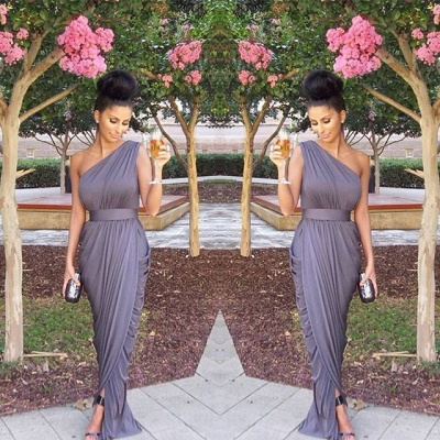 One Shoulder Long Bridesmaid Dresses Grey Ruffles Formal Evening Gowns_2