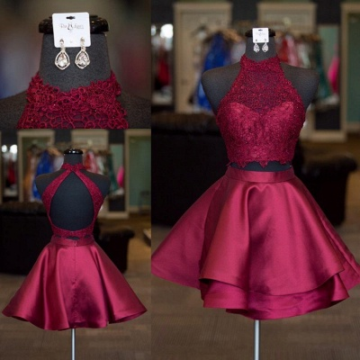 Cute Two-Piece Homecoming Dresses | Blue Halter Neck Hoco Dresses_2